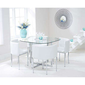 Furnish Our Home:Mark Harris Abingdon Stowaway Glass Dining Table + 4 Chairs - Dining Set White
