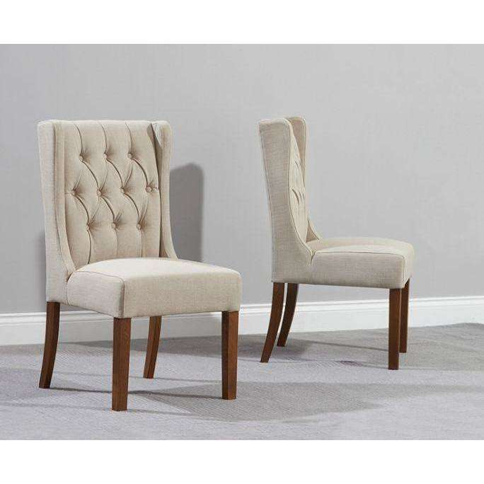 Mark Harris Stefini Beige Solid Dark Oak And Fabric Chairs (Pair)