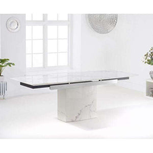 Furnish Our Home:Mark Harris Mozart 160-220cm White Extending Marble Dining Table
