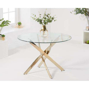 Furnish Our Home:Mark Harris Daytona 110cm Glass Gold Leg Dining Table