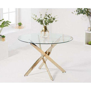 Furnish Our Home:Mark Harris Daytona 120cm Glass Gold Leg Dining Table