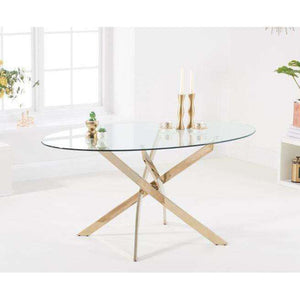 Furnish Our Home:Mark Harris Daytona 165cm Oval Glass Gold Leg Dining Table
