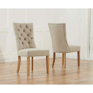 Furnish Our Home:Mark Harris Albury Beige Solid Dark Oak And Fabric Chairs (Pair)