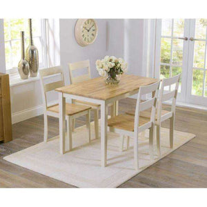 Furnish Our Home:Mark Harris Chichester 115cm Oak And Cream Dining Set + 4 Chairs
