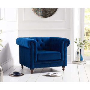 Furnish Our Home:Mark Harris Montrose Blue Plush Fabric Armchair With Dark Ash Wood Legs