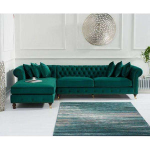 Furnish Our Home:Mark Harris Fiona Left Hand Facing (Lhf) Chesterfield Corner Chaise Sofa - Green Velvet - Dark Ash Wood Legs