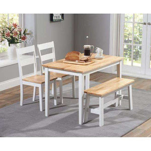 Furnish Our Home:Mark Harris Chichester 115cm Dining Set + 2 Chairs + Bench - Oak & White