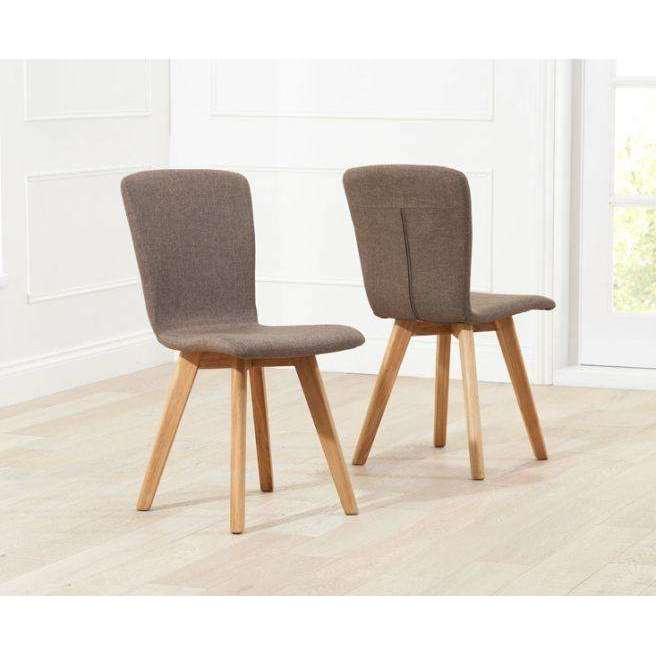 Mark Harris Tribeca Brown Fabric Chairs (Pair)