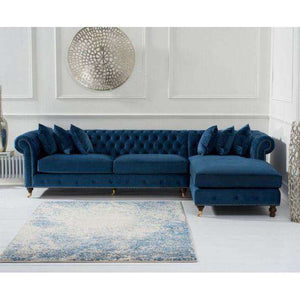 Furnish Our Home:Mark Harris Fiona Right Hand Facing (Rhf) Chesterfield Corner Chaise Sofa - Blue Velvet - Dark Ash Wood Legs