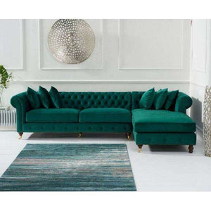 Furnish Our Home:Mark Harris Fiona Right Hand Facing (Rhf) Chesterfield Corner Chaise Sofa - Green Velvet - Dark Ash Wood Legs