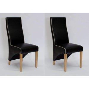 Furnish Our Home:Homestyle Wave Noir/Bone Contrast Piping Dining Chair (Pair)
