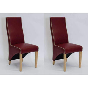 Furnish Our Home:Homestyle Wave Ruby/Bone Contrast Piping Dining Chair (Pair)