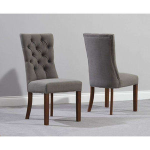 Furnish Our Home:Mark Harris Albury Grey  Solid Dark Oak And Fabric Chairs (Pair)