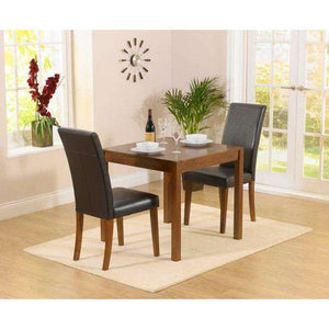 Furnish Our Home:Mark Harris Atlanta Brown Pu Dining Chair (Pair) - Dark Wood Legs
