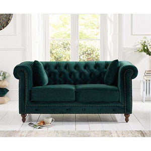 Furnish Our Home:Mark Harris Montrose Green Plush Fabric 2 Seater Sofa With Dark Ash Wood Legs - 2 Cushions Included