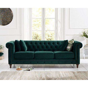 Furnish Our Home:Mark Harris Montrose Green Plush Fabric 3 Seater Sofa With Dark Ash Wood Legs - 2 Cushions Included