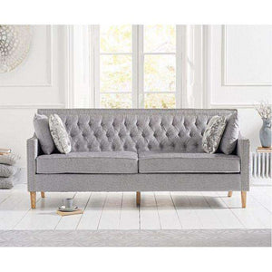Furnish Our Home:Mark Harris Casa Bella Grey Plush Fabric 3 Seater Sofa With Natural Ash Wood Legs - 2 Cushions Included