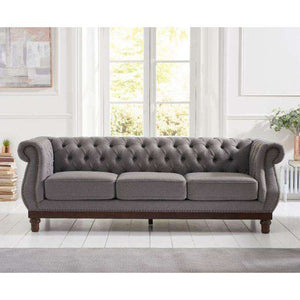Furnish Our Home:Mark Harris Highgrove Grey Linen Fabric 3 Seater Sofa With Dark Ash Wood Legs