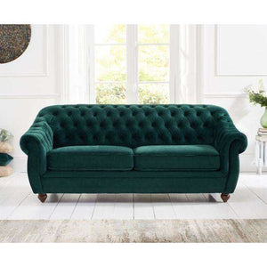 Furnish Our Home:Mark Harris Liv 3 Seater Chesterfield Fabric Sofa Green Plush