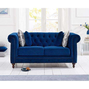 Furnish Our Home:Mark Harris Montrose Blue Plush Fabric 2 Seater Sofa With Dark Ash Wood Legs - 2 Cushions Included