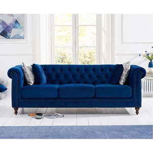 Furnish Our Home:Mark Harris Montrose Blue Plush Fabric 3 Seater Sofa With Dark Ash Wood Legs - 2 Cushions Included
