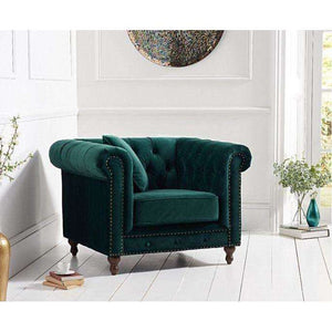 Furnish Our Home:Mark Harris Montrose Green Plush Fabric Armchair With Dark Ash Wood Legs