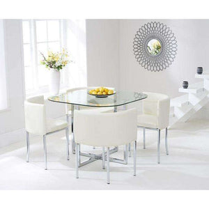 Furnish Our Home:Mark Harris Abingdon Stowaway Glass Dining Table + 4 Chairs - Dining Set Cream