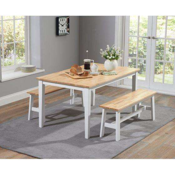 Mark Harris Chichester 150cm Dining Table + 2 Large Benches - Oak & White