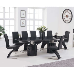 Furnish Our Home:Mark Harris Adeline 260cm Black Marble Dining Table with 8 x Black Hereford Chairs