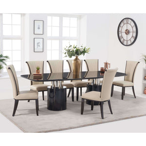 Furnish Our Home:Mark Harris Adeline 260cm Black Marble Dining Table with 8 x Cream Almeria Chairs