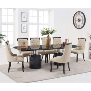 Furnish Our Home:Mark Harris Adeline 260cm Black Marble Dining Table with 8 x Cream Aviva Chairs