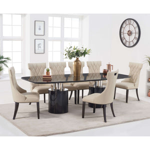 Furnish Our Home:Mark Harris Adeline 260cm Black Marble Dining Table with 8 x Cream Fredo Chairs