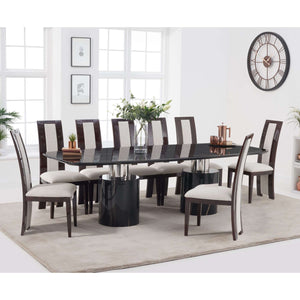 Furnish Our Home:Mark Harris Adeline 260cm Black Marble Dining Table with 8 x Rivilino Chairs