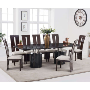 Furnish Our Home:Mark Harris Adeline 260cm Black Marble Dining Table with 8 x Valencie Chairs