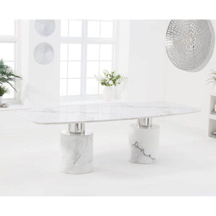 Mark Harris Adeline 260cm White Marble Dining Table