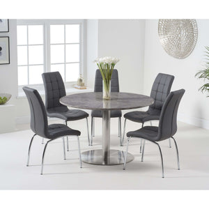 Furnish Our Home:Mark Harris Battista 120cm Round Grey Dining Table with 6 x Grey California Chairs