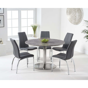 Furnish Our Home:Mark Harris Battista 120cm Round Grey Dining Table with 6 x Carsen Chairs