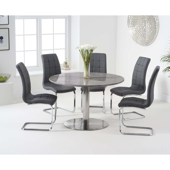 Mark Harris Battista 120cm Round Grey Dining Table with 6 x Lucy Chairs