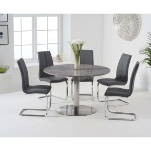 Furnish Our Home:Mark Harris Battista 120cm Round Grey Dining Table with 6 x Tonia Chairs