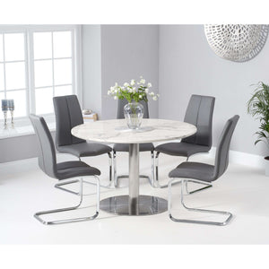 Furnish Our Home:Mark Harris Battista 120cm Round White Dining Table with 6 x Tonia Chairs