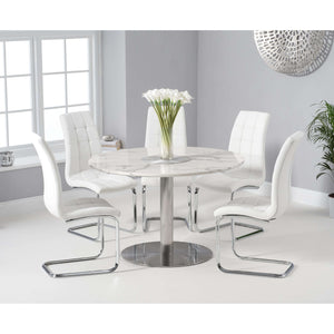 Furnish Our Home:Mark Harris Battista 120cm Round White Dining Table with 6 x White Lucy Chairs