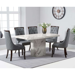 Furnish Our Home:Mark Harris Becca 160cm White Dining Table with 6 x Grey Aviva Chairs