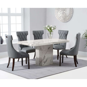 Furnish Our Home:Mark Harris Becca 160cm White Dining Table with 6 x Grey Fredo Chairs