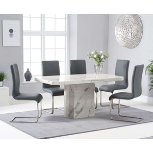 Furnish Our Home:Mark Harris Becca 160cm White Dining Table with 6 x Grey Malibu Chairs