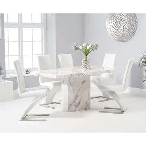 Furnish Our Home:Mark Harris Becca 160cm White Dining Table with 6 x White Hereford Chairs