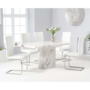 Furnish Our Home:Mark Harris Becca 160cm White Dining Table with 6 x Ivory White Malibu Chairs