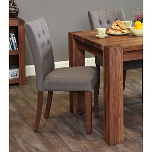 Furnish Our Home:Baumhaus Walnut Flare Back Upholstered Dining Chair - Slate (Pair)
