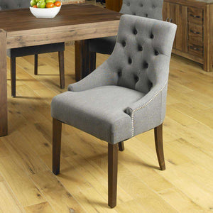 Furnish Our Home:Baumhaus Walnut Accent Upholstered Dining Chair - Slate (Pair)
