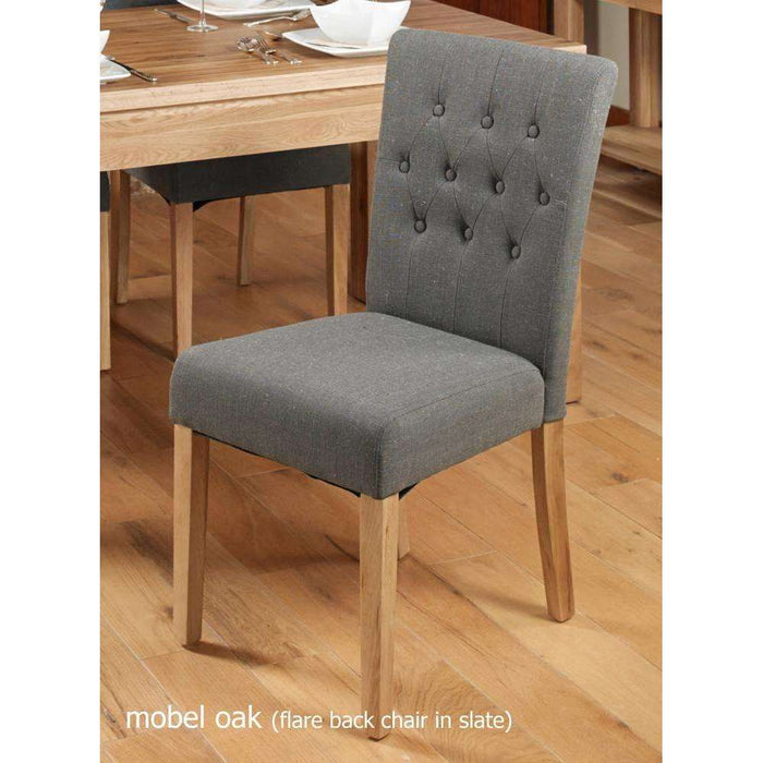 Baumhaus Oak Flare Back Upholstered Dining Chair - Slate (Pair)