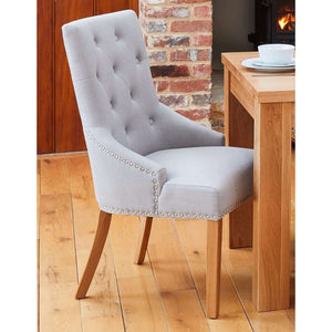 Furnish Our Home:Baumhaus Oak Accent Narrow Back Upholstered Dining Chair - Grey (Pair)